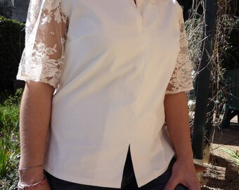 Tunic summer short velvet white sleeves and lace applications
