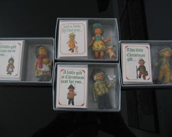 """Vintage 1983 Bradford """"Just For You"""" Christmas Ornaments - Lot of 4"""
