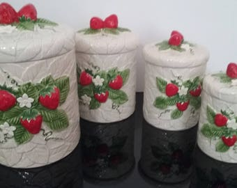 Vintage 1981 - Sears & Roebuck - Strawberry Ceramic Canister Jars - Set of (4)