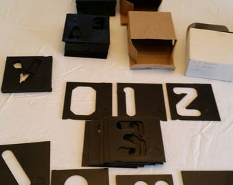 """58 stencils hard plastic square templates w/ alphabet a-z and numbers 0-9 plus 4 symbols 3 3/8"""" x 3 3/8"""" - school education learning art"""
