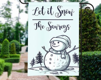 Personalized Garden Flag - Let it Snow -Fall Garden Flag Holiday 12 by 18 Custom Yard Flag Best Selling Gift For Her Home Decor Winter Snow