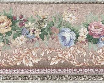 Pink Blue Flower Wallpaper Border 57831