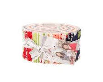 The Good Life Jellyroll by Bonnie and Camille Moda Precut modern jelly roll. Bright floral designs