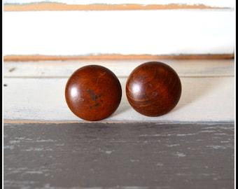 Vintage Drawer Knob Pulls - Two (2) Round Wooden Drawer Handles Pulls - Vintage Hardware - Vintage Home