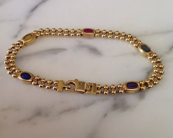 14K Gold Ruby And Sapphire Bracelet