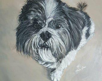 Custom made pet portrait 50 x 50 cm (1 Pet)