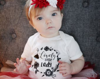 Lovely little lady onesie, little lady onesie, onesie, baby girl onesie, baby announcement, pregnancy announcement