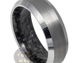 Men's 8mm Beveled Edge High Polished Wedding Band with Black Carbon Fiber Inlay Inside Tungsten Carbide Ring TS6130