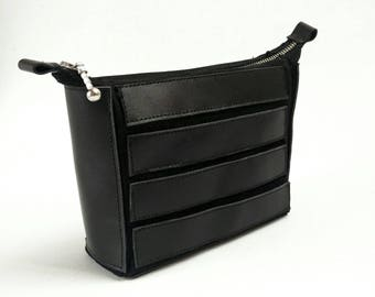 Sale/Black leather cosmetic bag/ Only one available