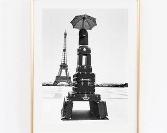 Fashion vintage photography. Old photography Paris. Eiffel photography art. Fashion luggage. Fashion bag poster. Instant download