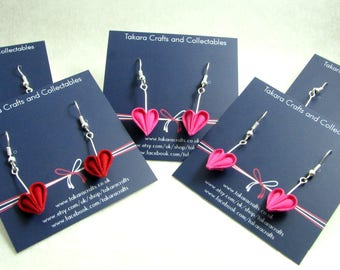 Sweet Heart Dangle Earrings / Tsumami Kanzashi / Geisha Inspired Kawaii Earrings / Statement Earrings