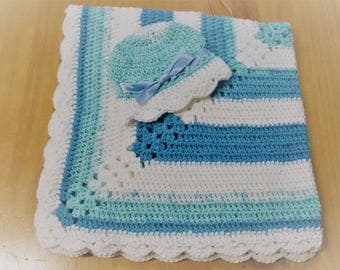 NEW Handmade Crochet Baby Blanket and Hat/Beanie Set - Blue & White Striped - A Wonderful Baby Shower Gift!! - SEE NOTE!