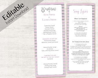 Baptism Program LDS Printable Digital, Editable PDF, Songs Handout Girl Baptism Lavender Silver, Purple, Lilac Baptism Template Girl