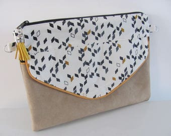 "Pouch / clutch ""Pixie"" cotton graphic ecru and suede"