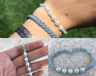 BLUE Sea Beaded Pearl Bracelet