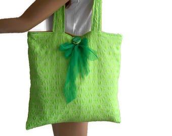 Modern Bag, Summer Bag, Tote Bag, Cloth Bag, Fabric Bag, Green Bag, Shoulder Bag, Everyday Bag, Beach Bag, Shopping Bag, Handmade Bag
