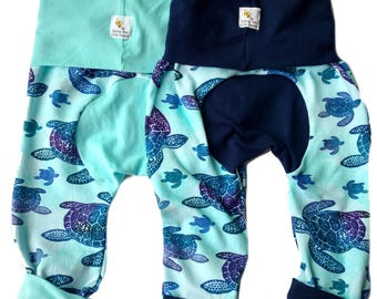 Maxaloones, Grow With Me Pants, Diaper Bum,  Baby Pants, Toddler Pants, Twins, Sisters, Brothers, Sea Turtles, Baby Yoga Pants, Leggings