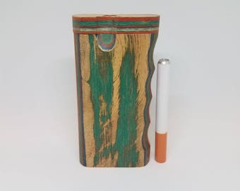 """4"""" Multi-colored Wooden Dugout with Bat"""