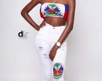 Haitian flag top (any flag)  xs/S/M/L/xl