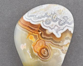 Crazy Lace Agate and Baltic Amber Designer Cabochon Set
