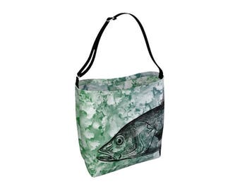 Animal Tote Bag, Large Fish Library Book Bag, Carry All, Beach Yoga Tote, Reusable Big Market Shopping Grocery, Printed Neoprene Day Tote