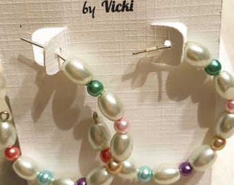 Pearl Oval Circle Hoop Post Earrings