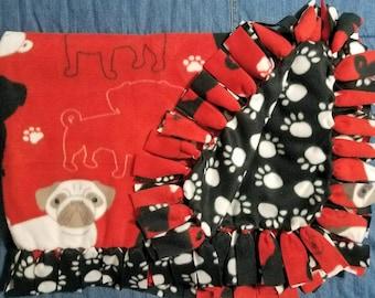 Pug Puppies Fleece Blanket