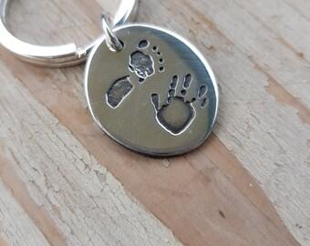 Baby hand and footprint Keyring