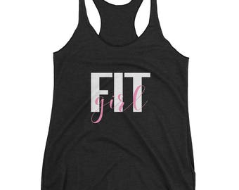 Fit Girl Women's Tank Top with White Letters | Exercise Tank Top | Gym Tank Top