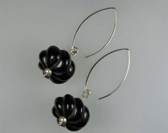 Carved Onyx and Sterling Silver Statement Earrings E 086