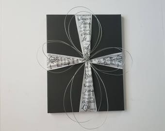 Painted black canvas with white ribbon and hand wrapped wire cross, For God so loved the world, John 3 16
