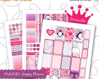 50% OFF SALE Planner Stickers Weekly Kit Happy Planner Valentines Day Winter Sports Penguin Red Heart Stickers Half Box Printable Stick Inst