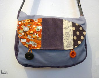 Gray and orange corduroy and cotton bag