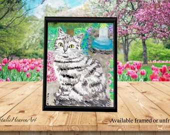 Tabby Cat Print, Grey Tabby Cat Picture, Cute Cat Art, Framed Cat Picture, Cat Lover Gift, Silver Cat Print, Summer Art, Bedroom Wall Art