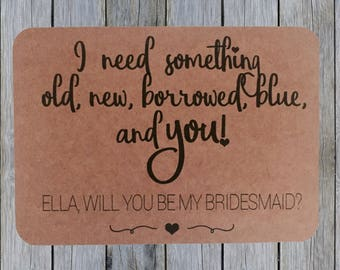 Bridesmaid Proposal Card, Will You Be My Bridesmaid Card / Postcard
