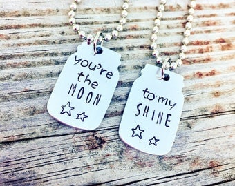You Are The Moon To My Shine Best Friend Necklaces Friendship Necklace Hand Stamped Metal Moonshine Country Girl Southern Gift for Her Mason