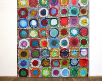 "XXL Very Large Abstract Acrylic Painting in Kandinsky Style Circles Unique Art 45,5""x58""-120x150cm"