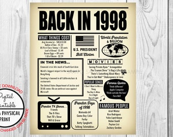 1998 The Year You Were Born, 20th Birthday Poster Sign, Back in 1998 Newspaper Style Poster, Printable, 1998 Facts, 20 years ago
