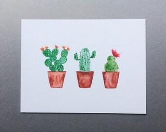 "Three Cacti In A Row Print // 5x7"" / 6x8"" / 8x10"" // Charity Cactus Pots Watercolour Print"
