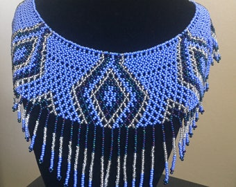 Artisan Hand Beaded Choker Huichol Art Blue and Clear Silver Color