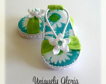 Aqua and Green Floral sandals for American Girl Dolls / 18 inch doll created by Uniquely Gloria