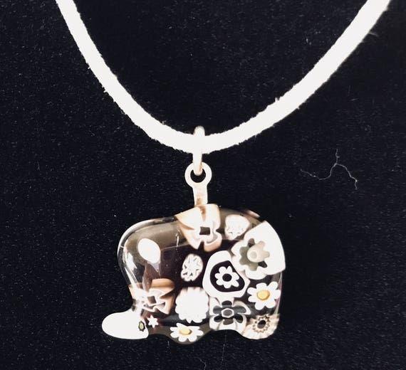 Murano Glass Millefiori Necklace Elephant On White Suede Cord