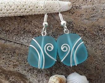 Made in Hawaii, Wire wrapped blue sea glass earrings, 925 sterling silver hook, gift box.beach jewelry