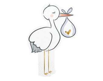 Stork Party Napkins, Baby Shower, Stork Napkins, Stork, Baby Shower Napkins, It's a Girl, It's a Boy, Baby Shower Decor,Baby Shower Supplies
