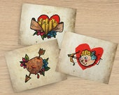 """Lot #3 de 3 cartes postales """"Tattoo"""" - Mme Patate - ange Cupidon, amour de frites et pomme de terre coeur"""