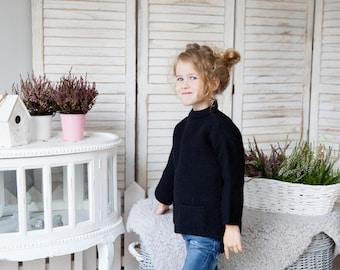 Knitted sweater / Wool sweater / Knitted wool sweater / Girl sweater / Alpaca sweater / Boy sweater / Gift / black sweater/ Christmas gift