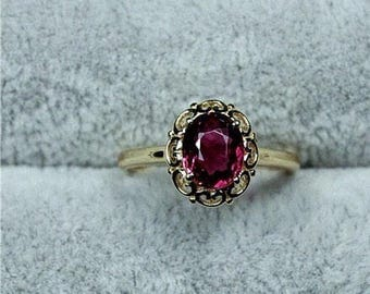 Stunning vintage hallmarked 14ct 14k yellow Gold and natural Tourmaline ring, 1.25ct. UK size I