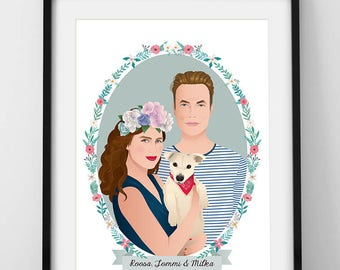 Vintage Couple portrait with pet, Custom couple portrait, Weddind portrait, Digital Illustration to print
