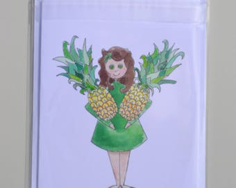 Pineapple Greetings Card, Friendship, Birthday or Anniversary, Special Partner Card, FruityNess