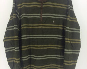Vintage 90's Hush Puppies Brown Stripes Sport Classic Design Skate Sweat Shirt Sweater Varsity Jacket Size L #A800
